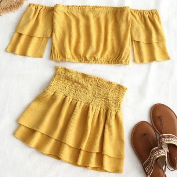dcb3da1ba Zaful Skirts   Adorable Yellow Skirt Skirt Only   Poshmark